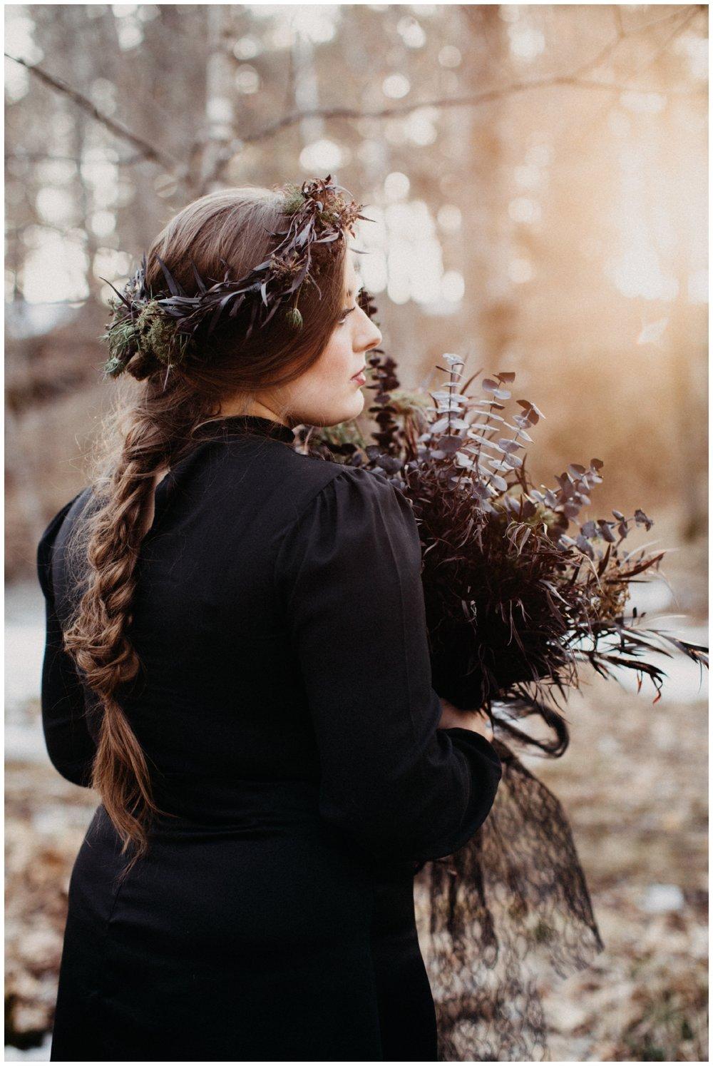 Dark and romantic inspired bridal shoot by Britt DeZeeuw, Brainerd MN wedding photographer