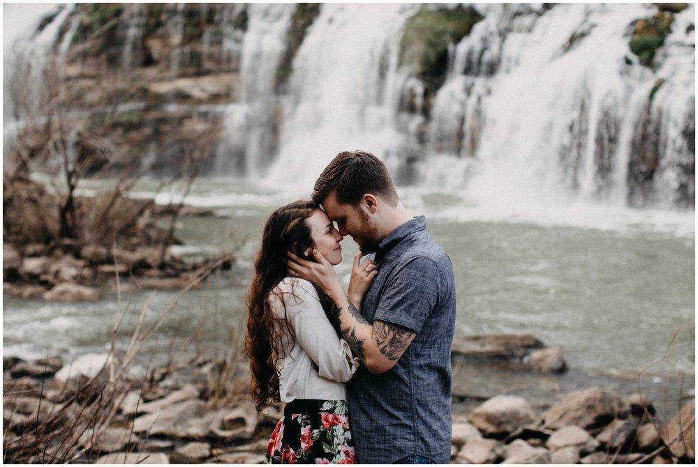 Intimate destination waterfall engagement by Nashville, Tennessee wedding photographer Britt DeZeeuw