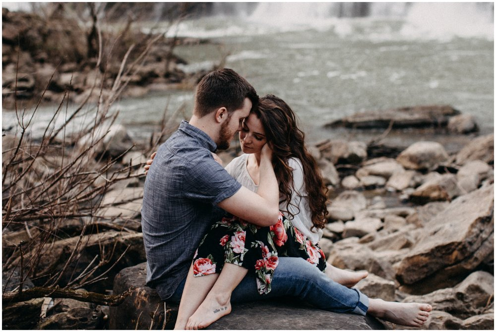 Intimate engagement photo at Rock Island State Park, TN