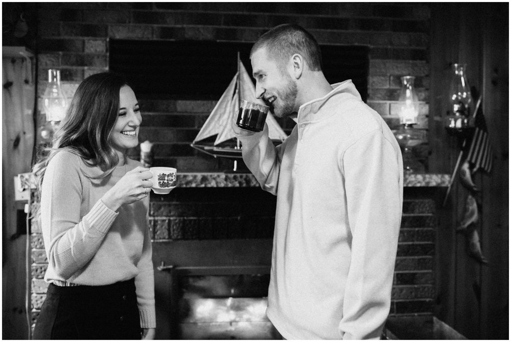 Candid in home engagement session in Hackensack, MN