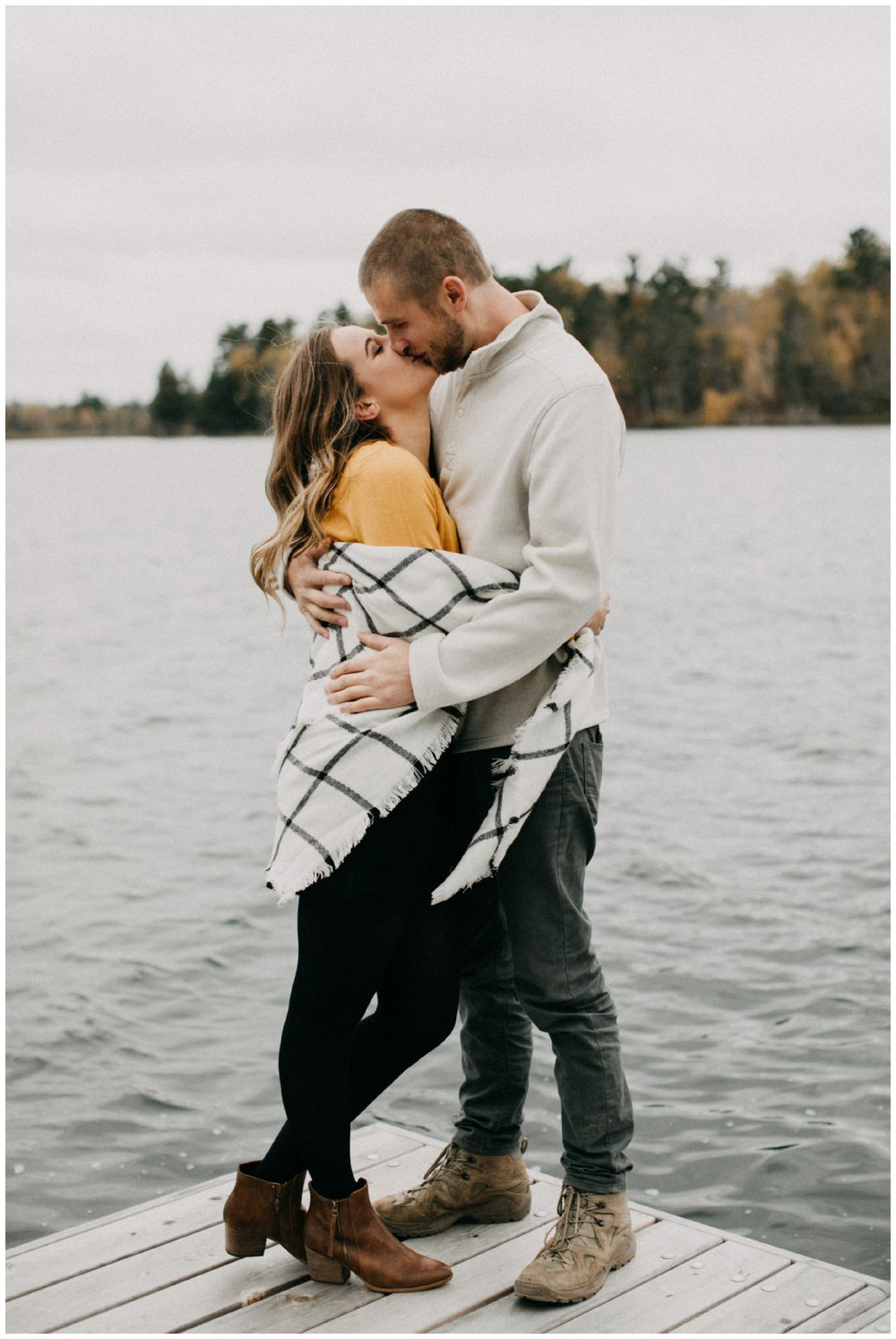 Cabin engagement photography on the lake in Hackensack, MN