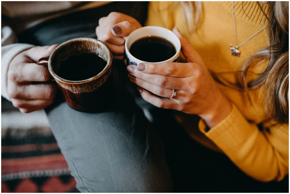 Morning coffee at home engagement session in northern Minnesota