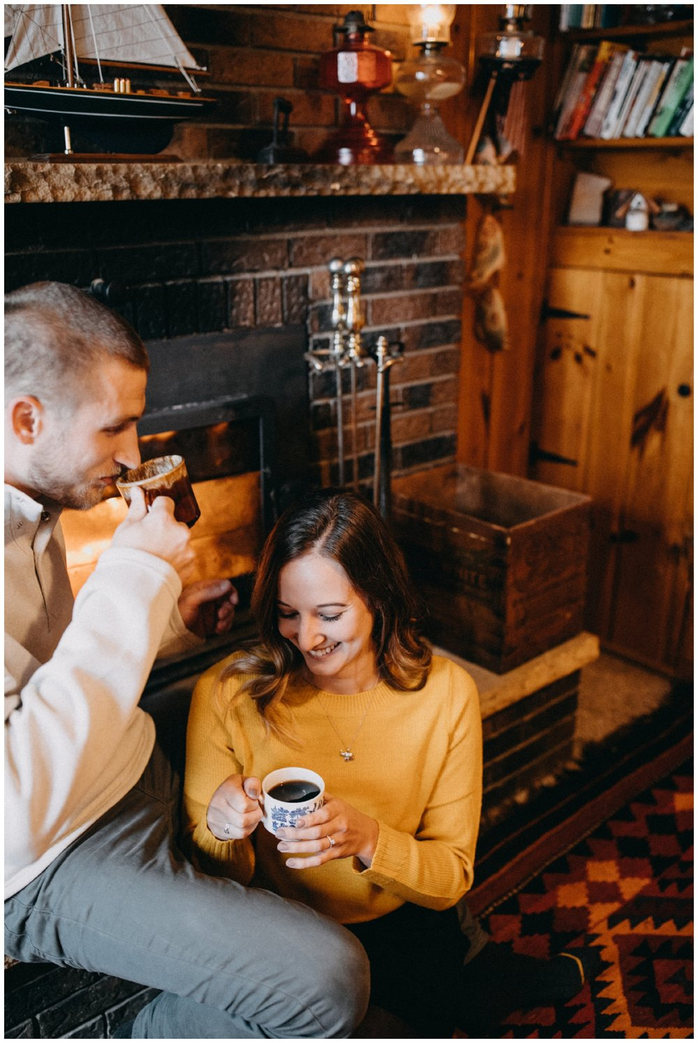 Laid back, candid in home engagement session at lake cabin in Hackensack, MN