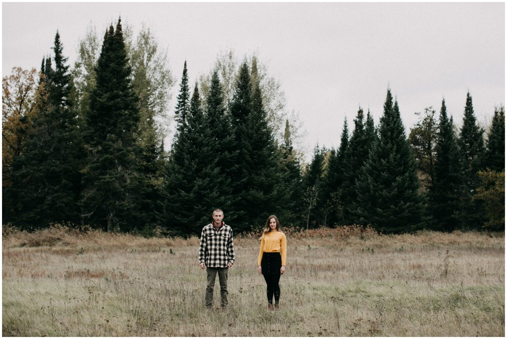 Outdoor fall engagement photography in Minnesota northwoods