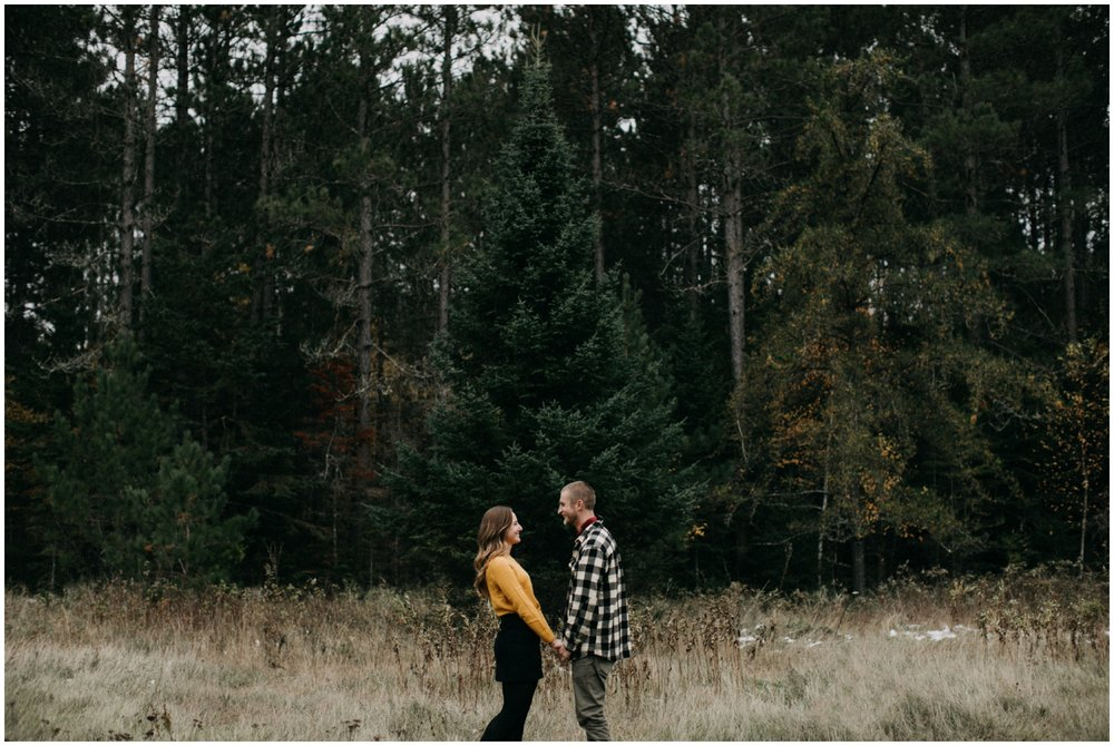 Pine tree forest engagement shoot in Hackensack, Minnesota