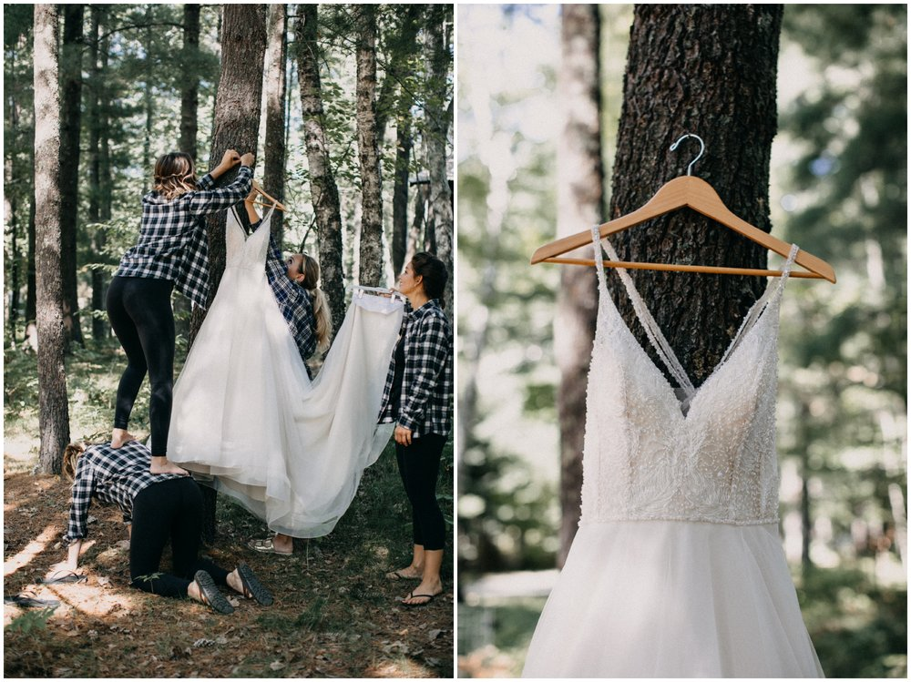 Laid back wedding in the woods at Camp Foley wedding in Pine River, Minnesota