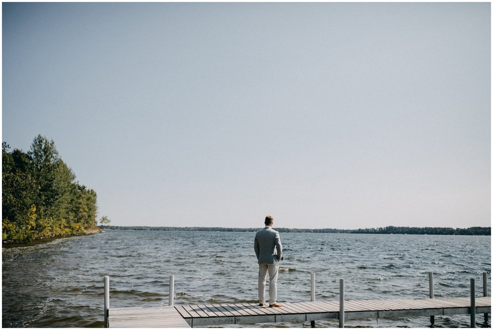 Lakeside wedding on the Whitefish chain at camp Foley