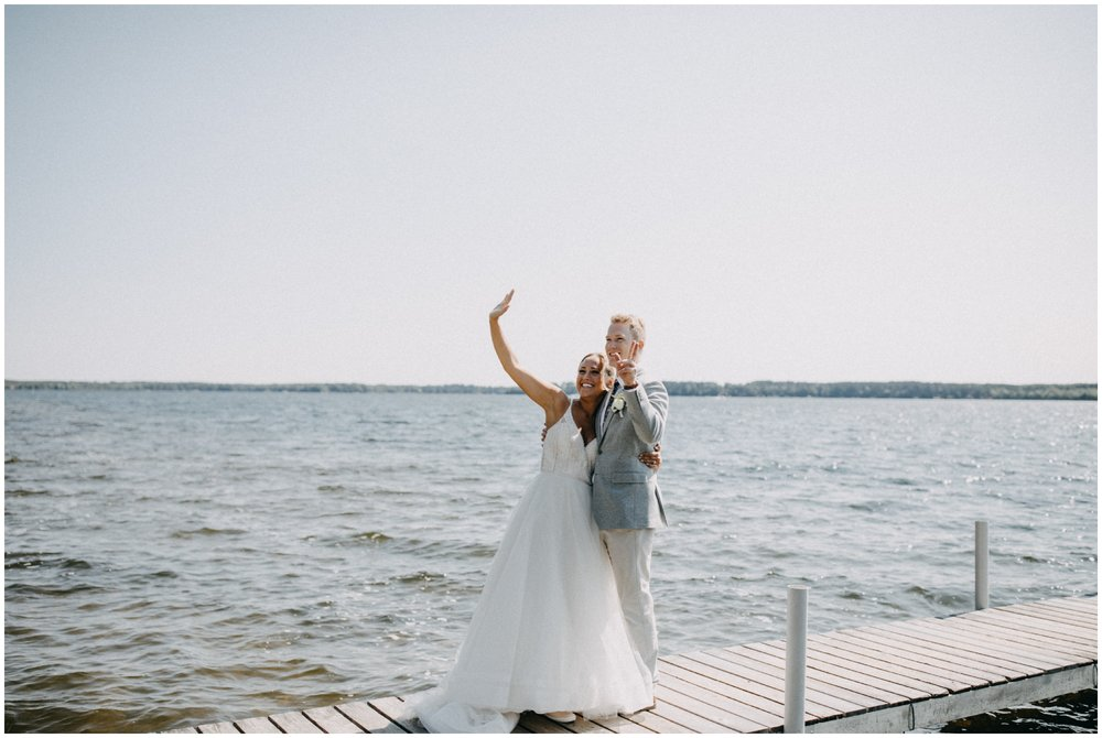 Casual summer wedding on the lake at Camp Foley in Pine River, MN