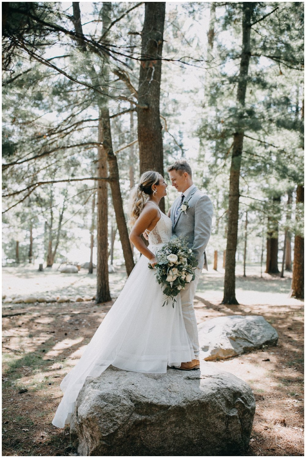 Whimsical forest wedding in the north woods of Pine River Minnesota