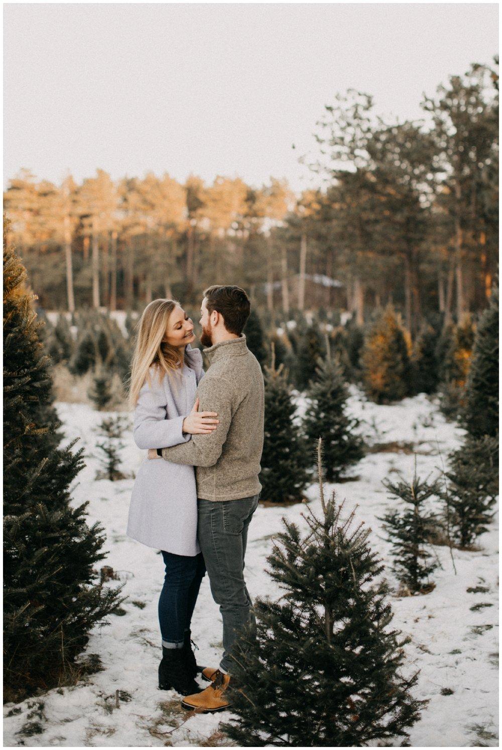 Winter Sunset engagement at Hansen Tree Farm in Anoka, Minnesota