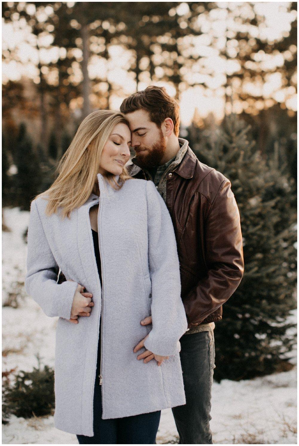 Romantic winter engagement session at Hansen Tree Farm