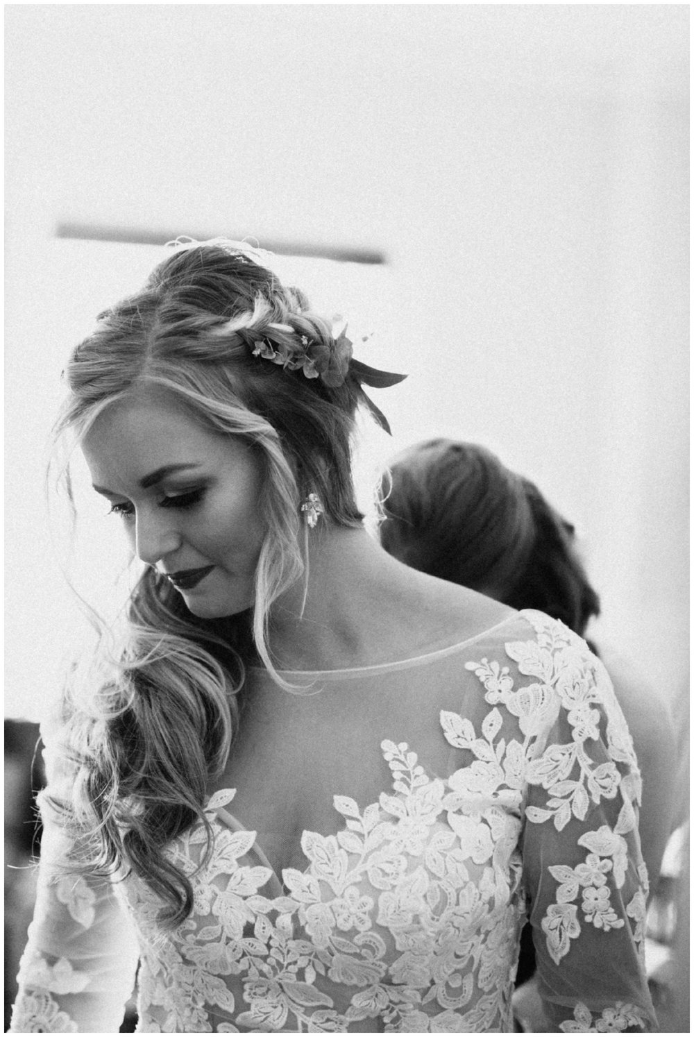 Timeless bridal portrait of bride getting ready at St Paul Minnesota wedding