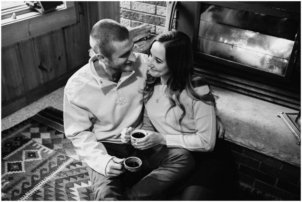 Romantic cabin engagement session up north, by Minnesota photographer Britt DeZeeuw