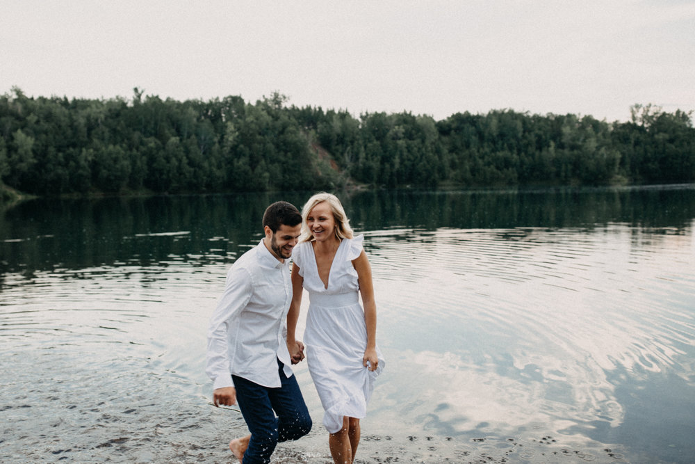 Summer engagement session at the Cuyuna Country  State rec area
