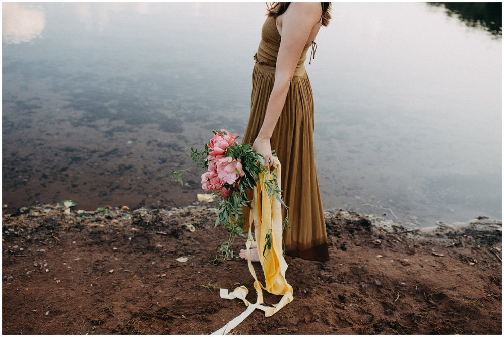 Boho style portrait session with pink peony bouquet and organic greenery by Brainerd photographer Britt DeZeeuw