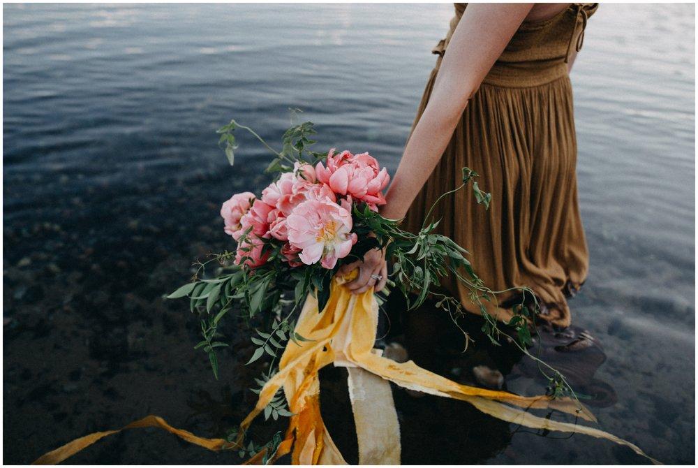 Natural and organic pink peony flower bouquet by Brainerd photographer Britt DeZeeuw