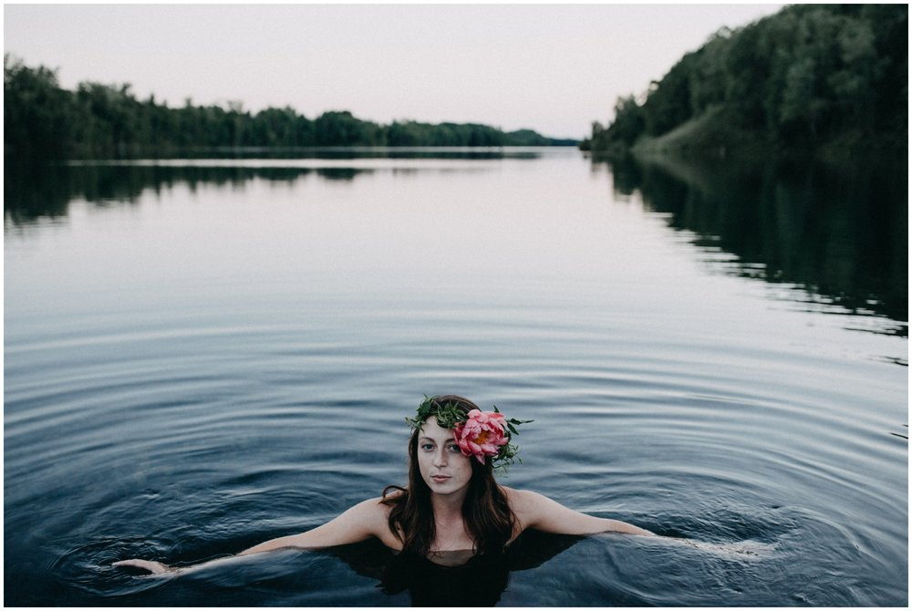 Boho chic fine art portrait session in the water by Brainerd Minnesota photographer Britt DeZeeuw