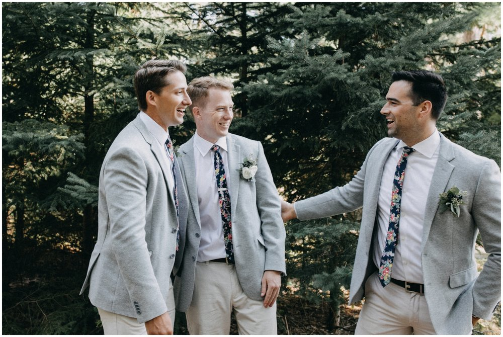 Casual and candid groomsmen photo at Camp Foley wedding