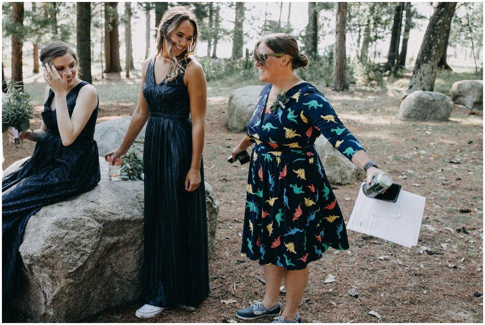 Dinosaur print dress at Camp Foley wedding