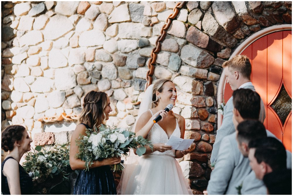 Stone chapel wedding at Camp Foley in Pine River
