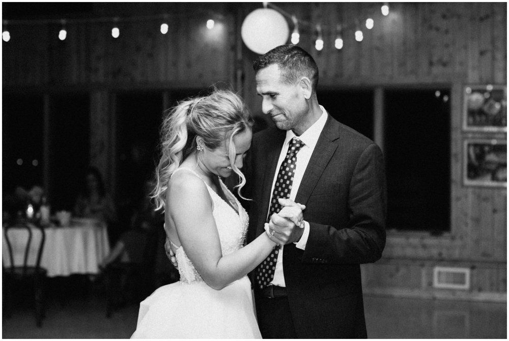 Father and bride dancing at Camp Foley wedding