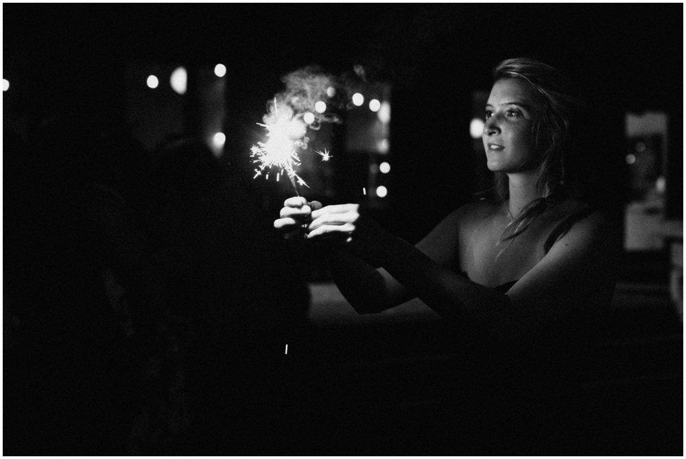 Wedding sparklers at Camp Foley