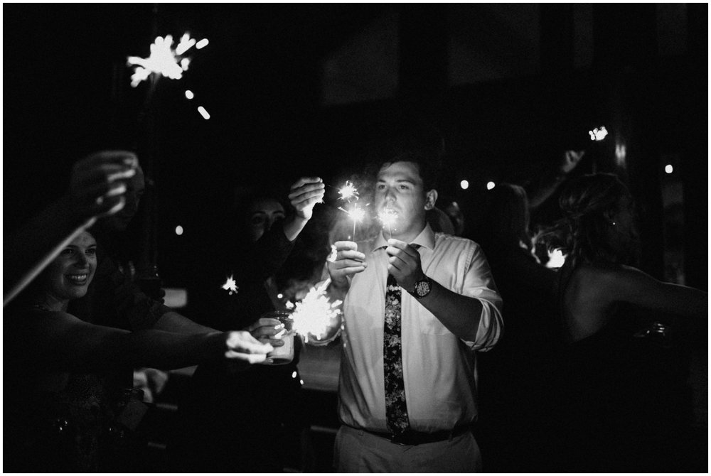 Wedding day sparklers at Camp Foley