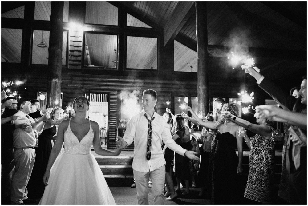 Camp Foley sparkler exit with bride and groom