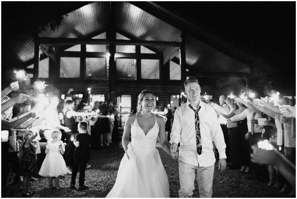 Camp Foley wedding sparkler exit