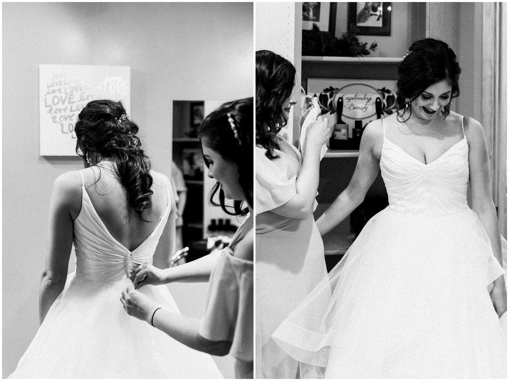 Bride getting ready at Pine Peaks wedding