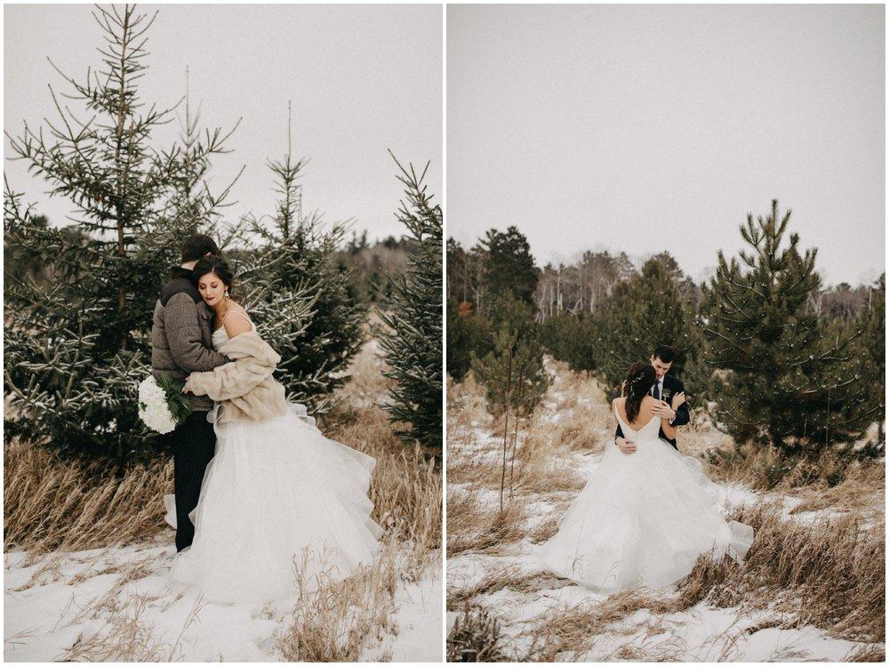 Romantic winter wedding at Pine Peaks in Crosslake MN