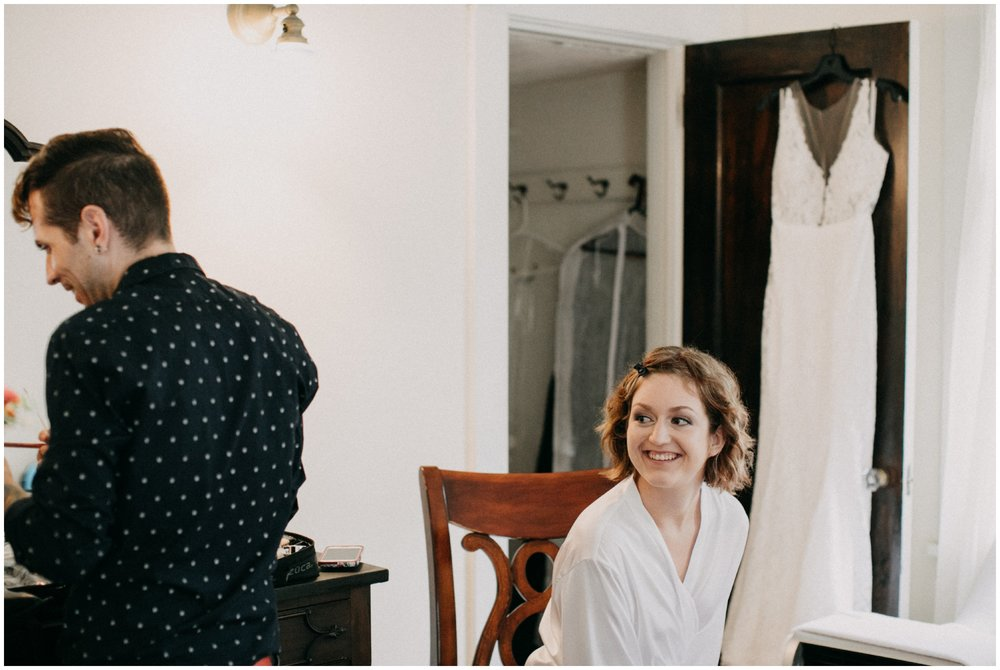 Bride getting ready for wedding day at home in Duluth Minnesota