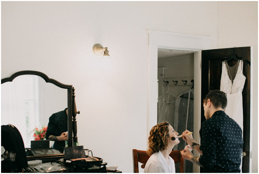 Bride getting ready for intimate Duluth wedding