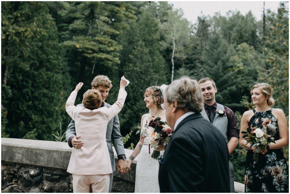 Emotional wedding at Lester Park in Duluth MN