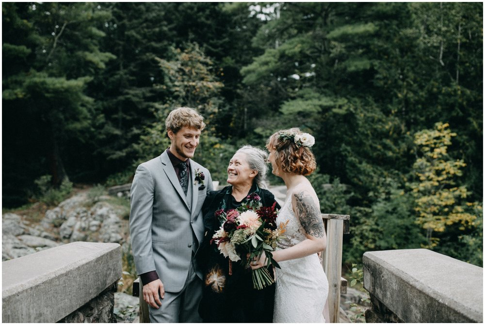 Candid family portrait at Lester Park wedding in Duluth Minnesota