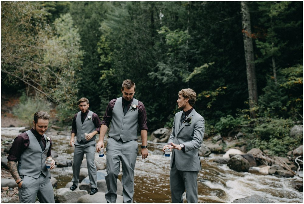 Groom with groomsmen at Lester Park wedding in Duluth Minnesota