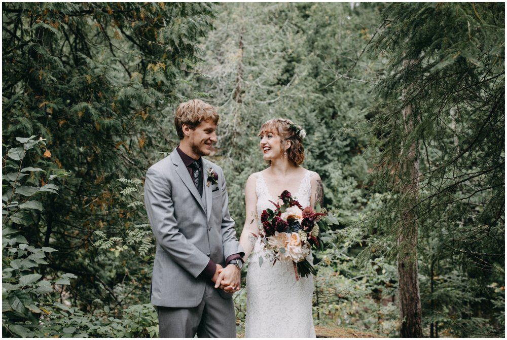 Bride and groom in the woods in Duluth Minnesota