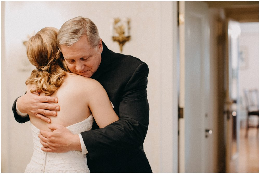 First look with bride and father of the the bride at St Paul College Club wedding
