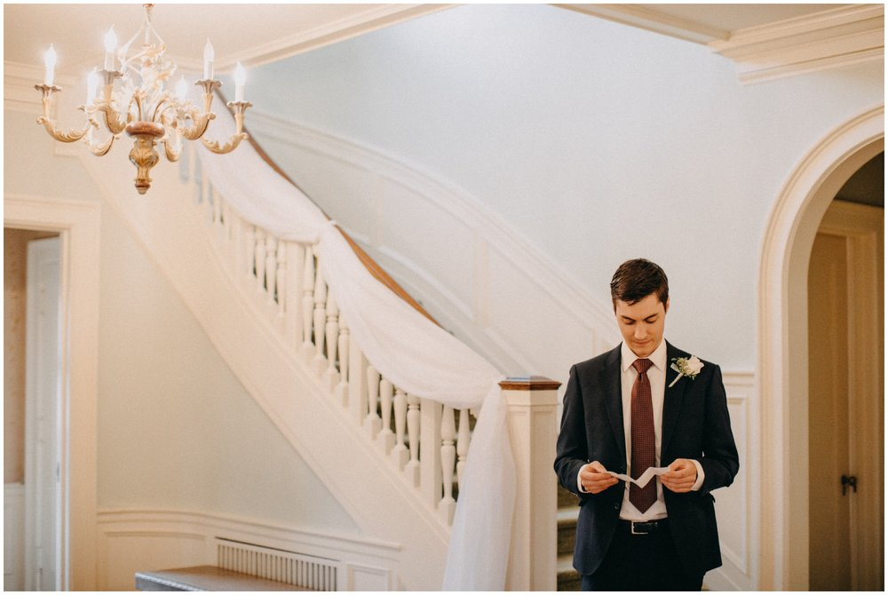 Groom on wedding day at the  St Paul College Club