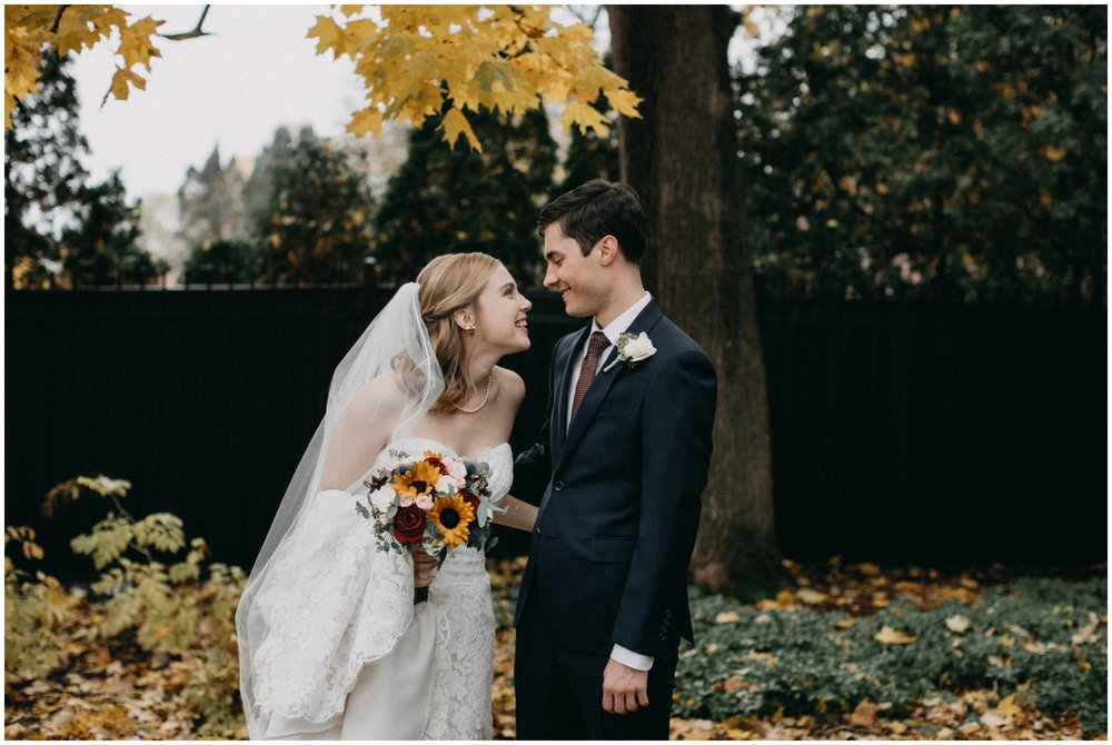 Romantic fall wedding at the St Paul College Club