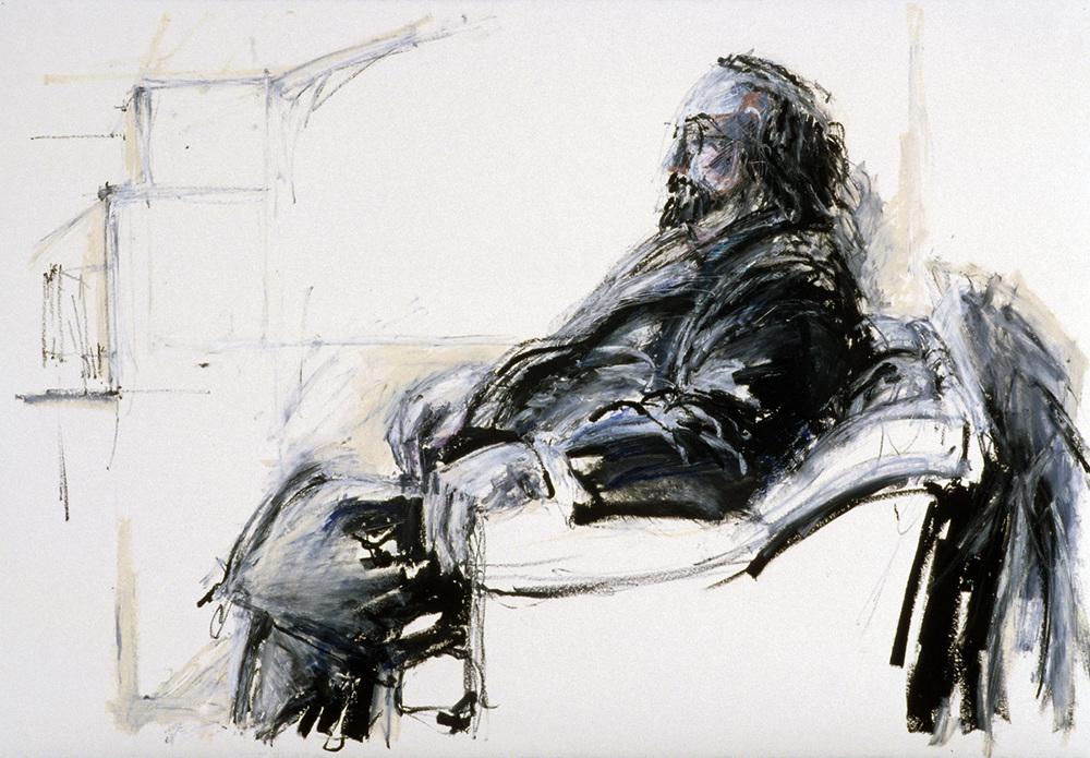 Sherman, profile, in chair