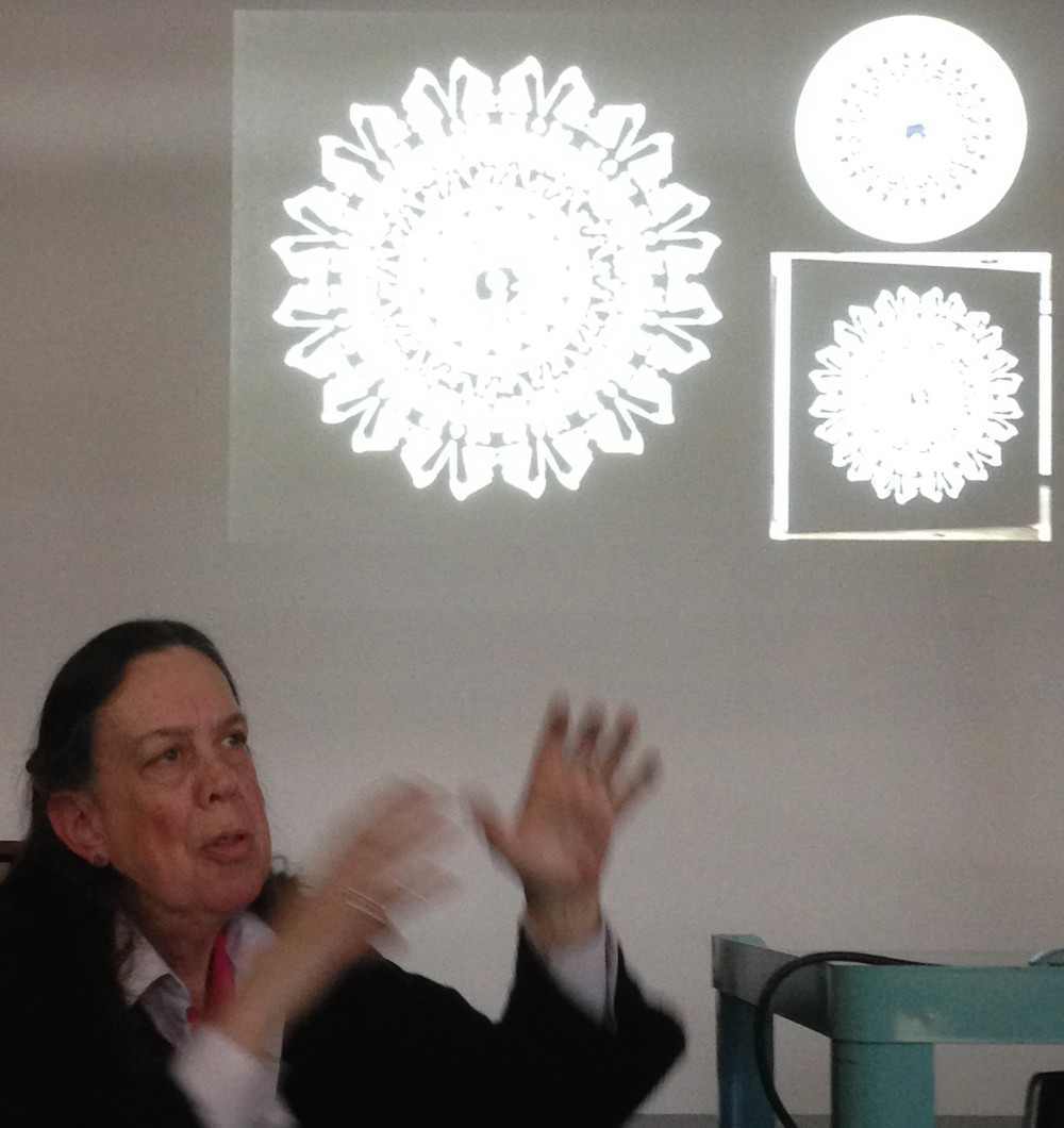 "Margi Weir discussing  ""Antimacassar for the Gulf"" and related works using vinyl cutouts"
