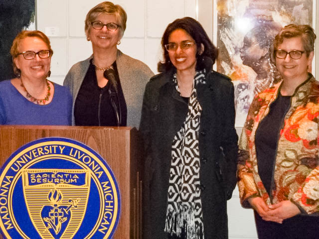 Stephanie Riolo (Honorable Mention), President Jackie Rybinski, Nina Ashraf Asmi (First Place), Joan Smykowski (Honorable Mention and Persistence co-chair)