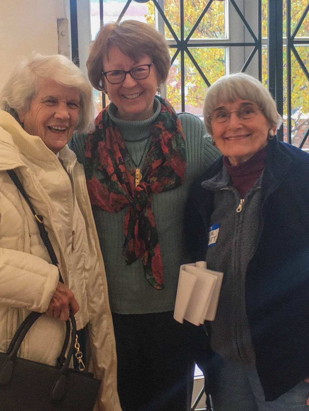 Past presidents Carol La Chiusa and Kathleen O'Connell with Julie Sabit, DSWPS member who also oversees the garden at the Scarab Club