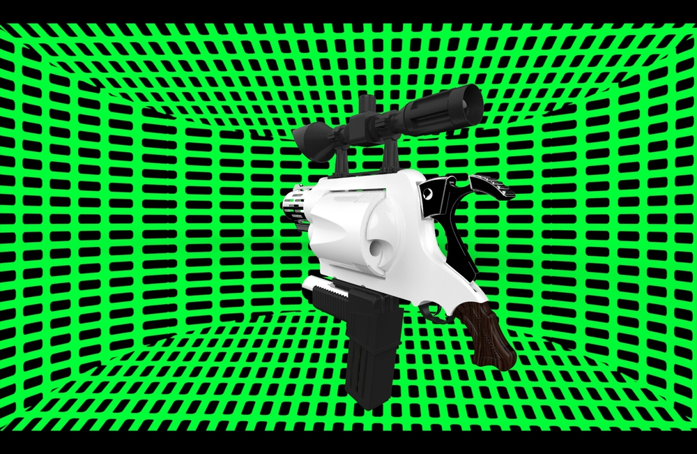 This is a still from a video of the G.O.D. gun rotating. I picked this really obnoxious background to reference the  Star Trek  Holodeck/  Reboot  3D world aesthetic. This video, along with the  M.P.B.F.G. 5000  redesign poster, were attempts at incorporating 3D modeling into my work without having to build the solid objects. This video never actually made it into the  Disthrashterpiece  video loop.