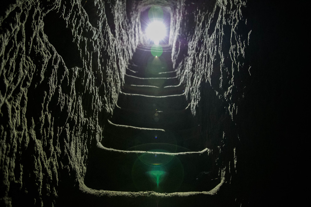 tunnel staircase under mt. suribachi