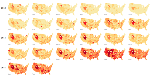 This heat-map shows the rise in searches on Google for jogger pants from 2013-15.