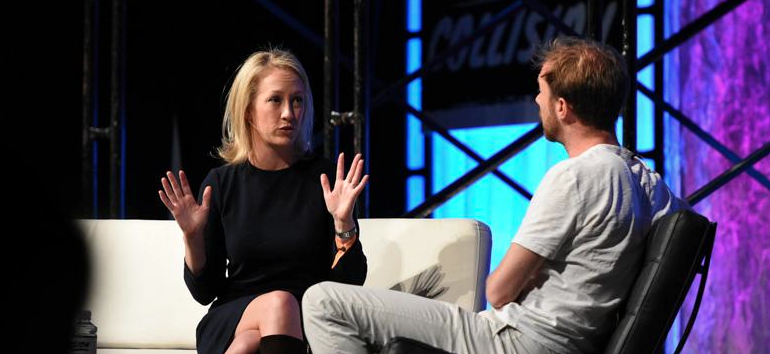 Julia Hartz, CEO of Eventbrite, and James Wallman at the Collision Conference, Las Vegas