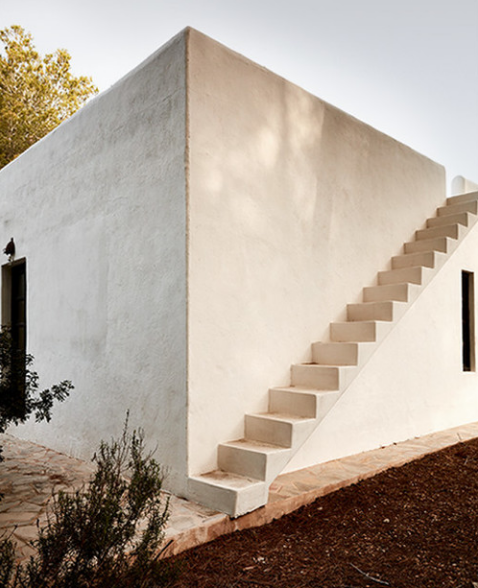 The off-site meeting for Design Hotels was held at their newest property, La Granja in Ibiza. The presentation about the future of business, and the discussions about the future of Design Hotels' business were held in,around, and near this building, set at the edge of the property,in the pine forest.