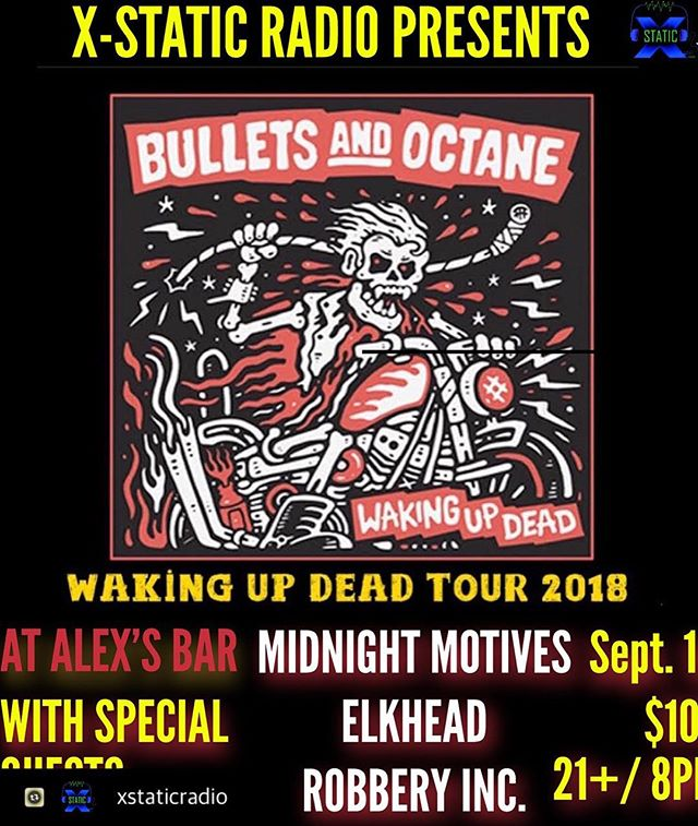 Stoked for our upcoming show!  #Repost with @Repostlyapp @xstaticradio Don't forget to pick up your tix for #bulletsandoctane at the LBC !!! At least mark your calendars and meet us there. Rock n roll will be alive that night! #lbc #longbeach #alexsbar #rocknrollshow #lbcrocknroll #rocknroll #elkhead #midnightmotives #robberyinc #fyell #xstaticradio
